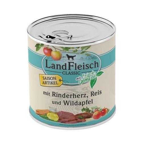 Landfleisch Dog Pur Rinderherz, Reis & Wildapfel 800 g SAISONARTIKEL (Menge: 6 je Bestelleinheit)
