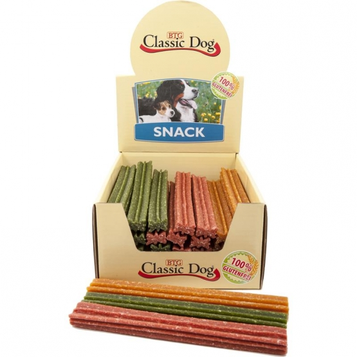 Classic Dog Snack Kaustange glutenfrei Maxi 23cm in natur, rot oder grün (Menge: 40 je Bestelleinheit)