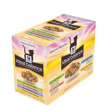Hills Feline Ideal Balance Huhn &Truthahn & Forelle & Lachs 12x85g Multipack