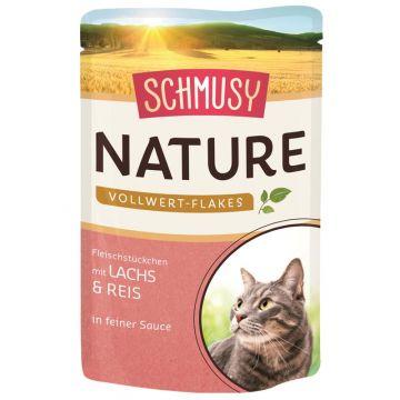 Schmusy Nature Frischebeutel Vollwert-Flakes Lachs & Reis 100g (Menge: 22 je Bestelleinheit)