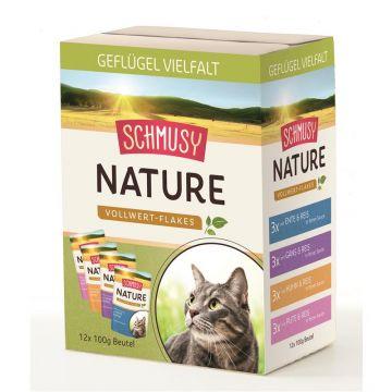Schmusy Nature Frischebeutel Vollwert-Flakes Multibox 12x100g (Menge: 4 je Bestelleinheit)