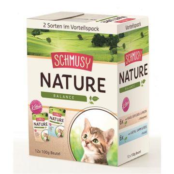 Schmusy Nature Frischebeutel Kitten Multibox 12x100g (Menge: 4 je Bestelleinheit)