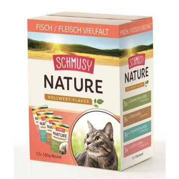 Schmusy Nature Vollwert-Flakes Fisch/Fleisch Multibox 100g (Menge: 4 je Bestelleinheit)