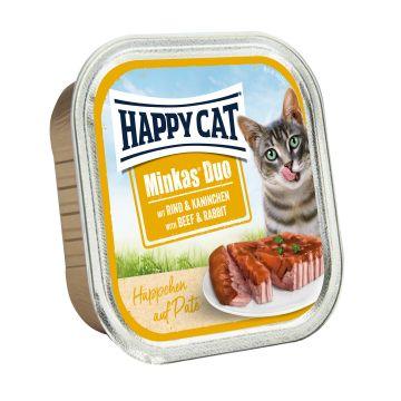Happy Cat Duo Paté auf Häppchen Rind & Kaninchen 100g  (Menge: 12 je Bestelleinheit)