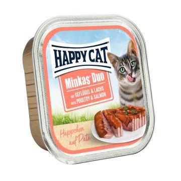 Happy Cat Duo Paté auf Häppchen Geflügel & Lachs 100g  (Menge: 12 je Bestelleinheit)