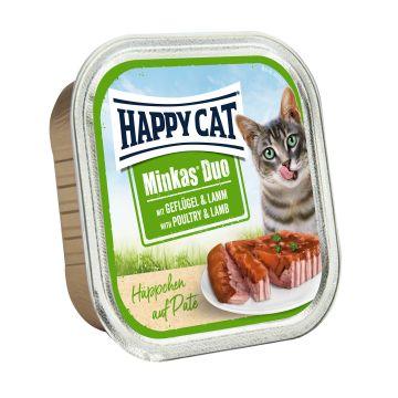 Happy Cat Duo Paté auf Häppchen Geflügel & Lamm 100g  (Menge: 12 je Bestelleinheit)