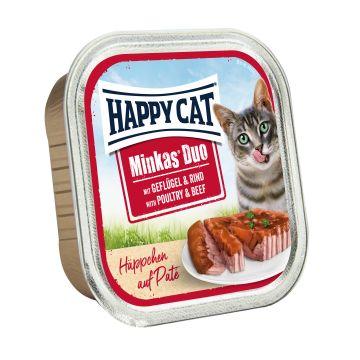 Happy Cat Duo Paté auf Häppchen Geflügel & Rind 100g  (Menge: 12 je Bestelleinheit)