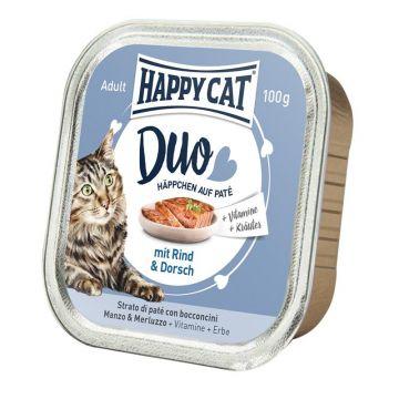 Happy Cat Duo Paté auf Häppchen Rind & Dorsch 100g  (Menge: 12 je Bestelleinheit)