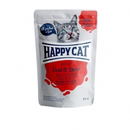 Happy Cat Pouches Meat in Sauce Adult Kalb & Leber 85g (Menge: 24 je Bestelleinheit)