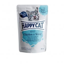 Happy Cat Pouches Meat in Sauce Adult Huhn & Forelle 85g (Menge: 24 je Bestelleinheit)