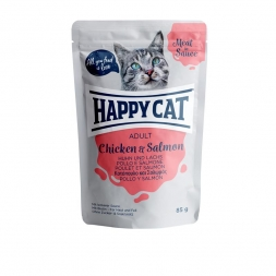 Happy Cat Pouches Meat in Sauce Adult Huhn & Lachs 85g (Menge: 24 je Bestelleinheit)