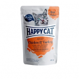 Happy Cat Pouches Meat in Sauce Adult Huhn & Truthahn 85g (Menge: 24 je Bestelleinheit)