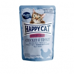 Happy Cat Pouches All Meat Adult Sterilised Huhn & Forelle 85g (Menge: 24 je Bestelleinheit)