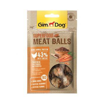 GimDog Superfood Meat Balls Huhn Karotte und Leinsamen 70g