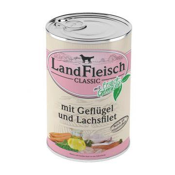 Landfleisch Dog Pur Geflügel & Lachsfilet 400 g (Menge: 12 je Bestelleinheit)
