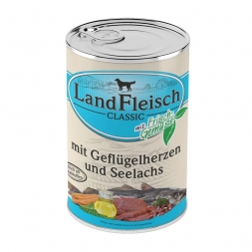 Landfleisch Dog Pur Geflügelherzen & Seelachs 400 g (Menge: 12 je Bestelleinheit)