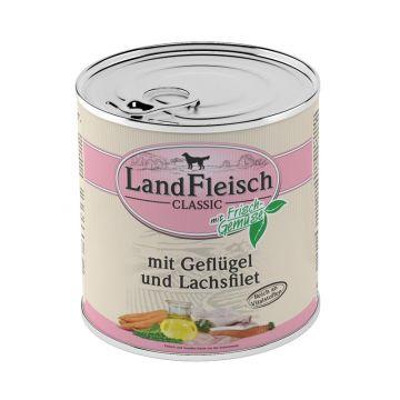 Landfleisch Dog Pur Geflügel & Lachsfilet 800 g (Menge: 6 je Bestelleinheit)