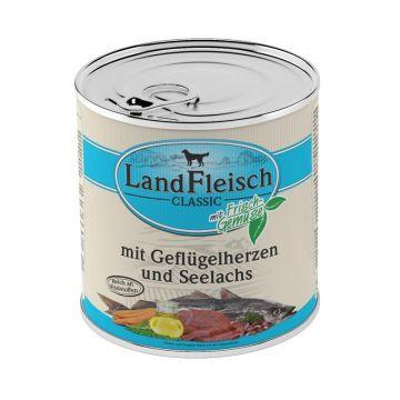 Landfleisch Dog Pur Geflügelherzen & Seelachs 800 g (Menge: 6 je Bestelleinheit)