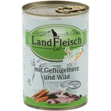 Landfleisch Cat Dose Schlemmertopf Geflügelherzen & Wild 400g (Menge: 12 je Bestelleinheit)