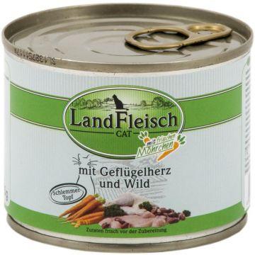 LandFleisch Cat Dose Schlemmertopf Geflügelherzen & Wild mit Frisch-Gemüse 195g (Menge: 12 je Bestelleinheit)