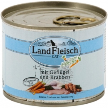 LandFleisch Cat Dose Schlemmertopf Geflügel & Krabben mit Frisch-Gemüse 195g (Menge: 12 je Bestelleinheit)