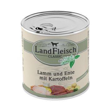 LandFleisch Dog Pur Lamm & Ente & Kartoffel 800g (Menge: 6 je Bestelleinheit)