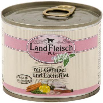 Landfleisch Dog Pur Geflügel & Lachsfilet 195 g (Menge: 12 je Bestelleinheit)