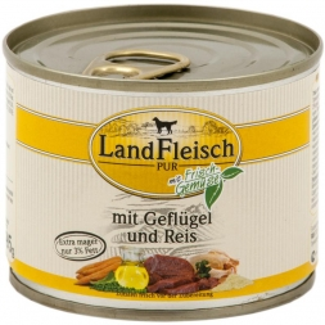 Landfleisch Dog Pur Geflügel & Reis extra mager 195g (Menge: 12 je Bestelleinheit)