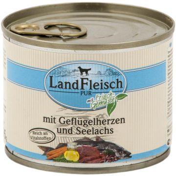 Landfleisch Dog Pur Geflügelherzen & Seelachs 195 g (Menge: 12 je Bestelleinheit)