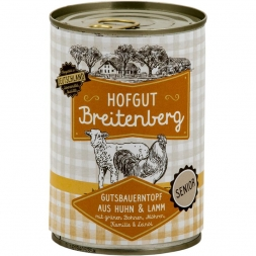 Hofgut Breitenberg Senior Gutsbauerntopf mit grünen Bohnen, Möhren, Kamille  & Leinöl 400g (Menge: 6 je Bestelleinheit)