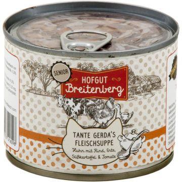 Hofgut Breitenberg Cat Senior Tante Gerdas Fleischsuppe Huhn mit Rind, Ente, Kartoffeln & Tomaten 180g (Menge: 12 je Bestelleinheit)