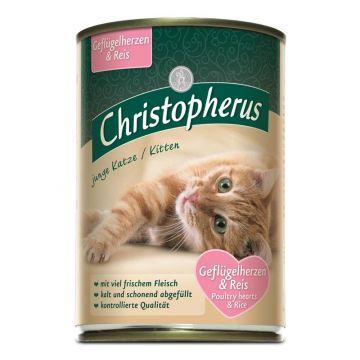 Christopherus Cat Dose Junge Katze Geflügelherzen & Reis 400g (Menge: 6 je Bestelleinheit)
