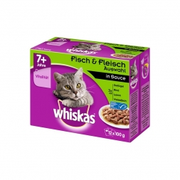 Whiskas Frischebeutel Multipack 7+ Fleisch- & Fischauswahl 12x100g (Menge: 4 je Bestelleinheit)