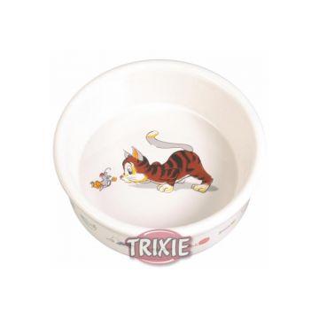 Trixie Napf mit Motiv, Katze, Keramik 0,2 l  11 cm, weiß