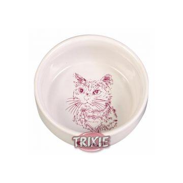Trixie Napf mit Motiv, Katze, Keramik 0,3 l  11 cm, weiß