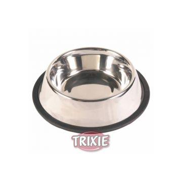 Trixie Edelstahlnapf, Gummiring 0,7 l  16 cm
