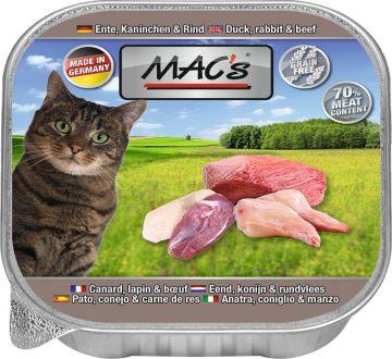 MACs Cat Ente, Kaninchen & Rind 85g (Menge: 16 je Bestelleinheit)