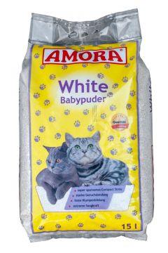 Amora White Katzenstreu m. Babypuderduft 15 Ltr