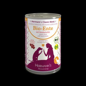 Herrmanns Dog Bio Ente, Süßkartoffel, Kürbis, Nachtkerzenöl 400g (Menge: 12 je Bestelleinheit)