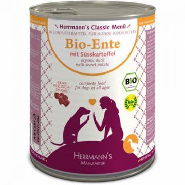 Herrmanns Bio Ente, Süßkartoffel, Kürbis, Nachtkerzenöl 800g (Menge: 6 je Bestelleinheit)