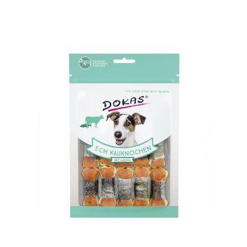 Dokas Hundesnack 5 cm Kauknochen mit Lachs 12 Stück (10x) (Menge: 10 je Bestelleinheit)