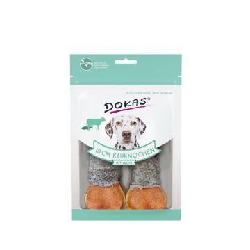 Dokas Hundesnack 10 cm Kauknochen mit Lachs 2 Stück (10x) (Menge: 10 je Bestelleinheit)