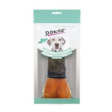 Dokas Hundesnack 15 cm Kauknochen mit Lachs 1 Stück (10x) (Menge: 10 je Bestelleinheit)