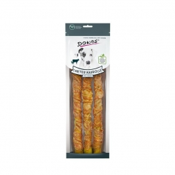 Dokas Hunde Snack 1 m Kaurolle aus Rinderhaut mit Huhn 315g (Menge: 8 je Bestelleinheit)
