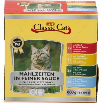 Classic Cat Mahlzeit in feiner Sauce mit 4 Sorten Mix 8x100g-Pouchbeutel