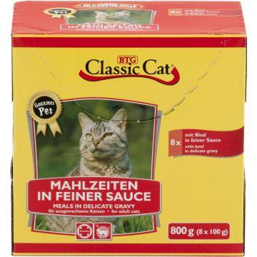 Classic Cat Mahlzeit in feiner Sauce mit Rind 8x100g-Pouchbeutel