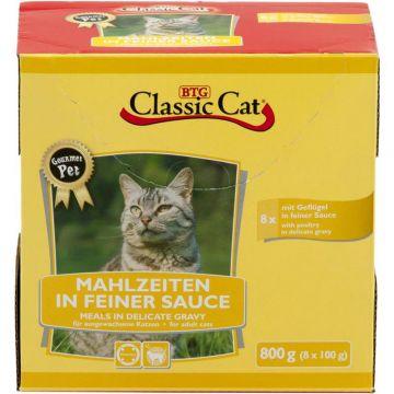 Classic Cat Mahlzeit in feiner Sauce mit Geflügel 8x100g-Pouchbeutel
