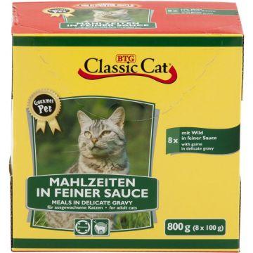 Classic Cat Mahlzeit in feiner Sauce mit Wild 8x100g-Pouchbeutel