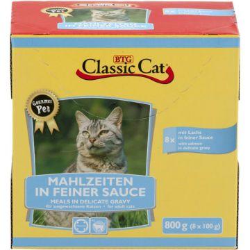 Classic Cat Mahlzeit in feiner Sauce mit Lachs & Forelle 8x100g-Pouchbeutel