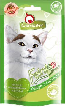GranataPet Katzensnack Feinis Geflügel & Katzengras 50g